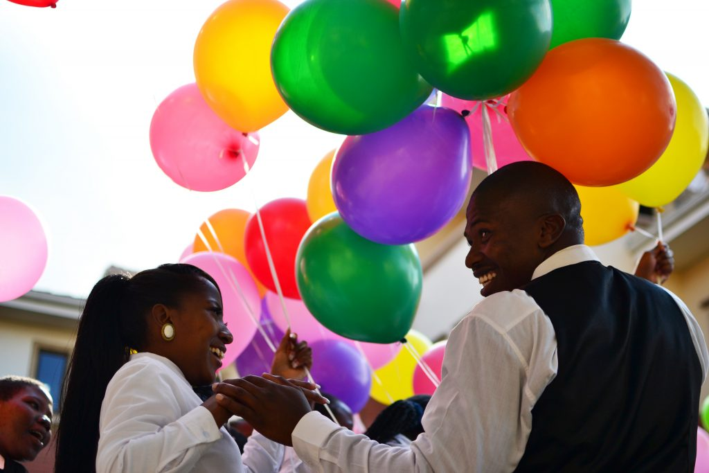 African Bank Employees with Balloons