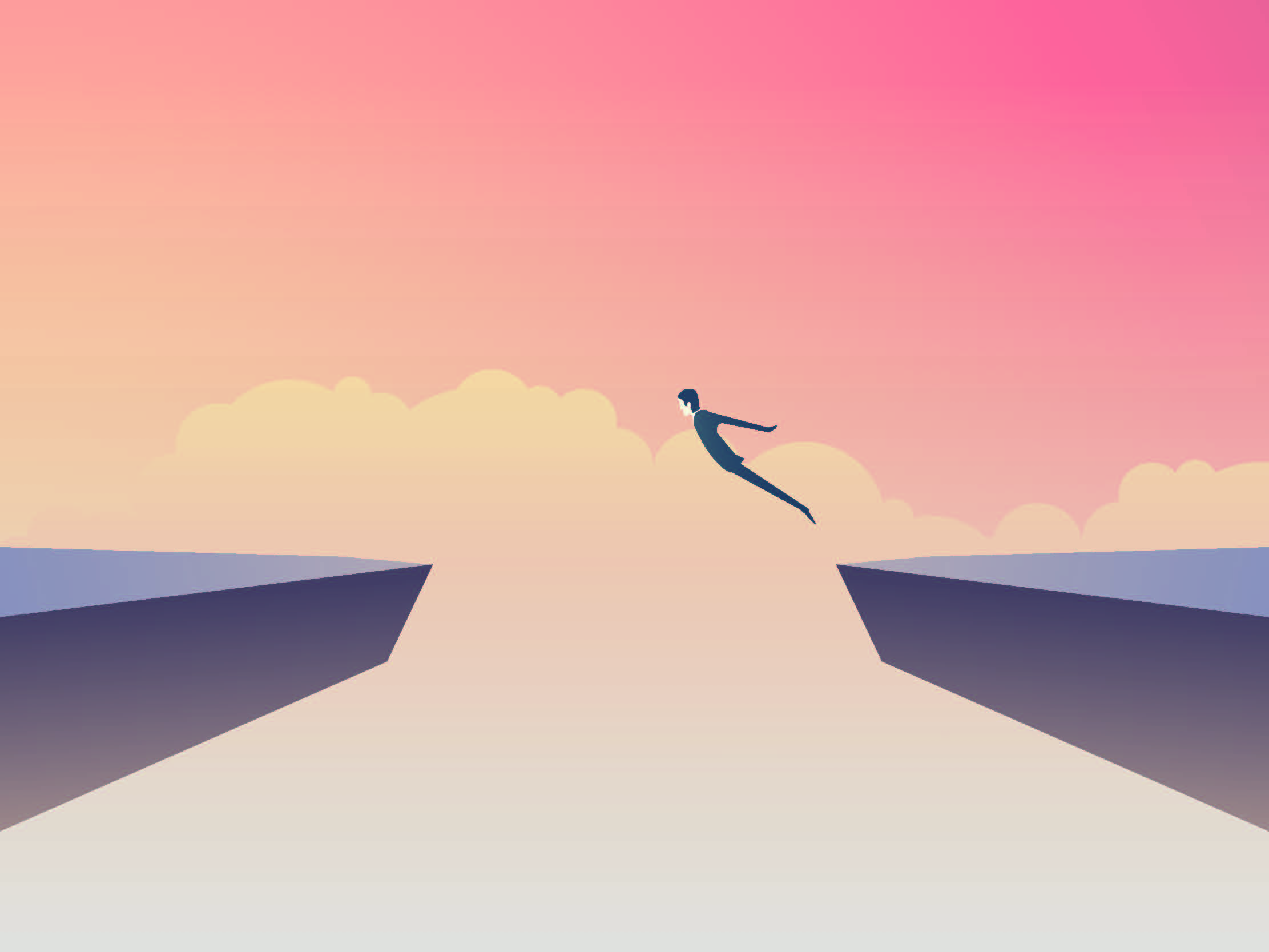 Image of man jumping off cliff