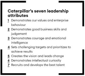 Caterpillar leadership attributes